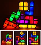 Amperer 7 Colors Night Light 7 PCS Tetris Stackable Tangram Puzzle LED Induction Interlocking Desk Lamp 3D Toys Ideal Gift for Home and Office Decorations Easy Stacking up Magical Decoration (7 Pcs)