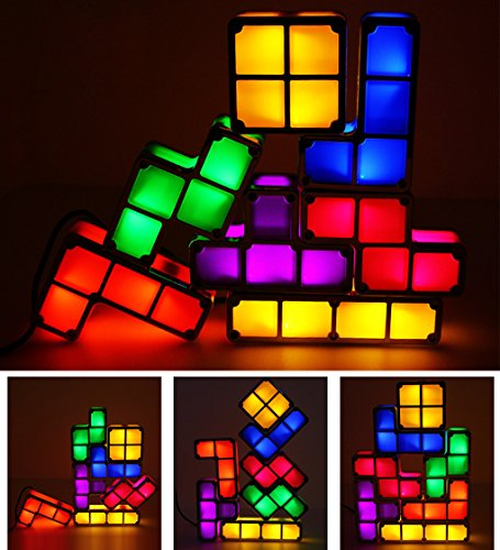 Amperer 7 Colors Night Light 7 PCS Tetris Stackable Tangram Puzzle LED Induction Interlocking Desk Lamp 3D Toys Ideal Gift for Home and Office Decorations Easy Stacking up Magical Decoration (7 Pcs) by Amperer