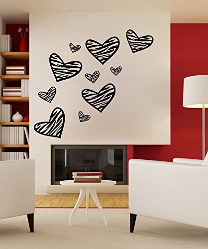 - 24.02x27.56in Graffiti hand drawing like wall decals zebra print wall decal heart shape free size easy art for bedroom girls boys kids by ColorfulHall