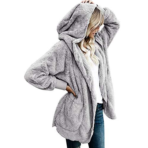 Fulision Abrigo largo de mujer Abrigo de lana cálido de algodón Use un abrigo de pieles en ambos lados