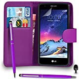 Premium Leather PURPLE Wallet Flip Case FOR LG K8 2017 Case Cover with Ball Pen Touch Stylus Screen Protector & Polishing Cloth Black Cap, (WALLET PURPLE)