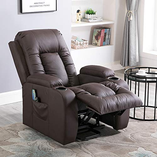 (Massage Recliner Chair, 4HOMART Electric Power Lift Chair with Massage, Heat and Vibration 160 Degree Recline PU Leather 8 Point Massage Sofa Recliner Heated Chair with Cup Holders)