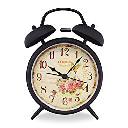 Slash 4 Vintage Retro Old Fashioned Quiet Non-ticking Sweep Second Hand, Quartz Analog Twin Bell Clock, Battery Operated, Loud Alarm, Nightlight Function (Black Case - Roses)