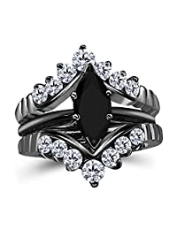 Silver Gems Factory 0.75 Ct Marquise Solitaire Engagement Wedding Ring Band Set Enhancer Black Sapphire 14k Black Gold Plated Alloy