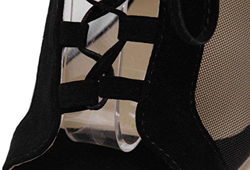 Lace YCMDM Donna primavera estate Net Tie Sandali con tacco classico della bocca dei pesci pendio con i sandali , black , 40
