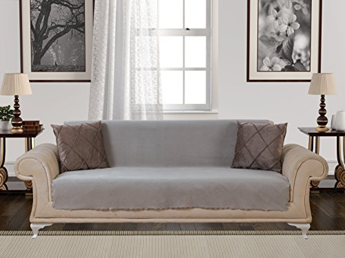 Anti-Slip Armless 1-Piece Sofa Throw Slipcover for Dogs Pets Kids Non-Slip Furniture Cover Shield Protector Fitted 2 & 3 Cushion Couch Futon Sectional Recliner Seater Diamond Sofa Light Taupe (Sleeper Armless)