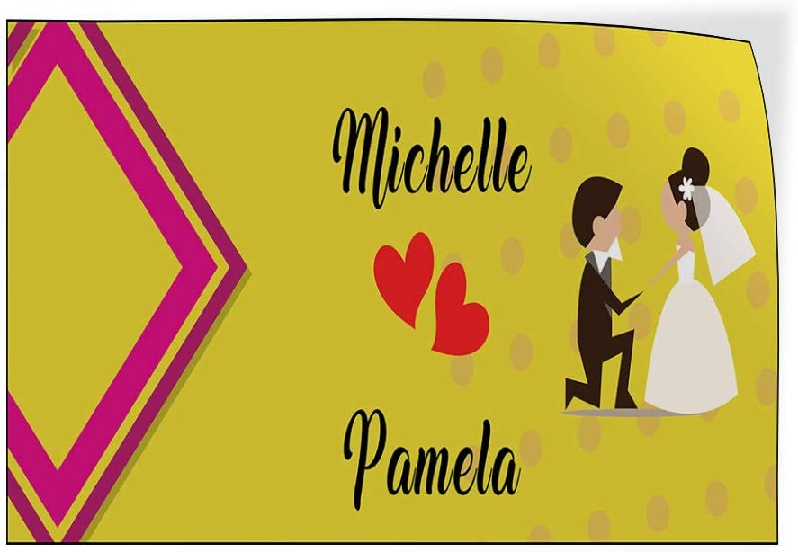 Custom Door Decals Vinyl Stickers Multiple Sizes Anniversary Wife Names A Lifestyle Happy Anniversary Outdoor Luggage /& Bumper Stickers for Cars Yellow 45X30Inches Set of 5