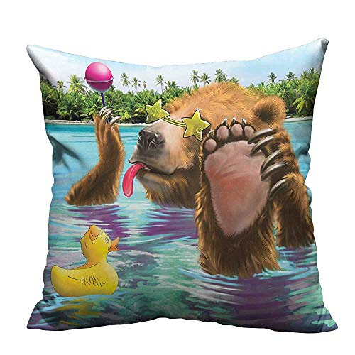 YouXianHome Lovely Cushion Covers Happy Fancy Wild Bear in The Sea by The Beach with its Sunglass Resists Stains(Double-Sided Printing) 17.5x17.5 -