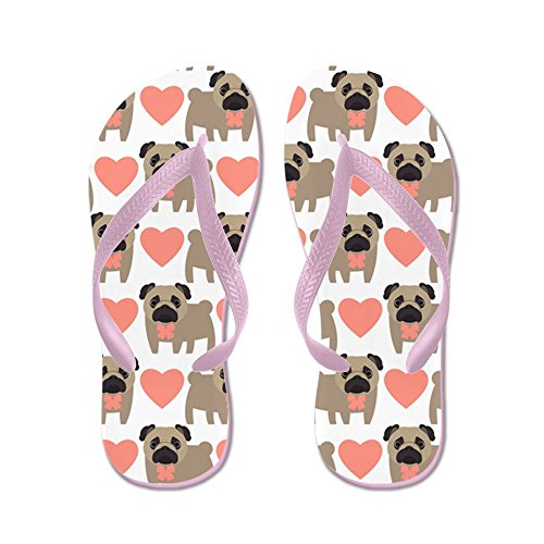 CafePress Pugs and hearts - Flip Flops, Funny Thong Sandals, Beach Sandals Pink