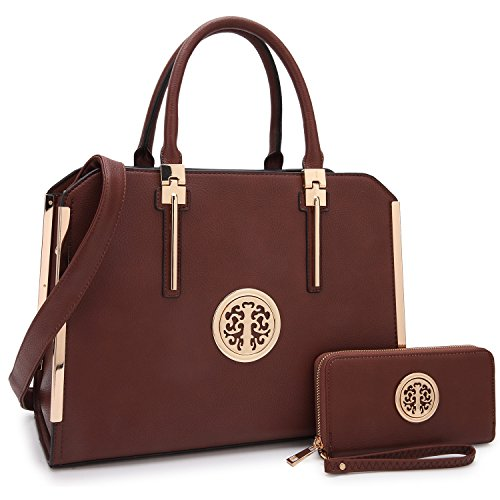 Dasein 2pcs Women Shoulder Purses Top handle Handbags Satchel Bags Work Tote Bags with Wallet (03-Brown)