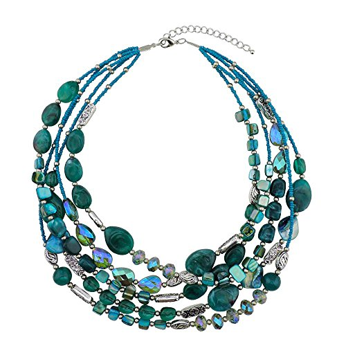 Bocar Multi Layer 5 Strand Statement Collar Beaded Necklace for Women Gift (NK-10376-tael)