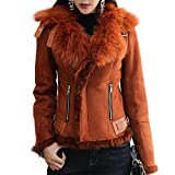 Manka Vesa Real Fox Fur Lapel Suede Leather Jacket with Thick Fleece Women's Winter Coat Moto Jacket Caramel