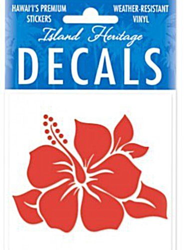 Hawaiian Single Hibiscus Red Square 2-7/8