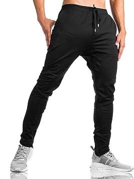 LY4U Pantalones de chándal para Hombre, con Cremallera, Informales ...