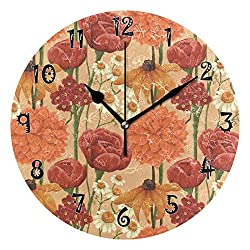 Dozili Peach Blossom Wooden Round Wall Clock Arabic Numerals Design Non Ticking Wall Clock Large for Bedrooms,Living Room,Bathroom