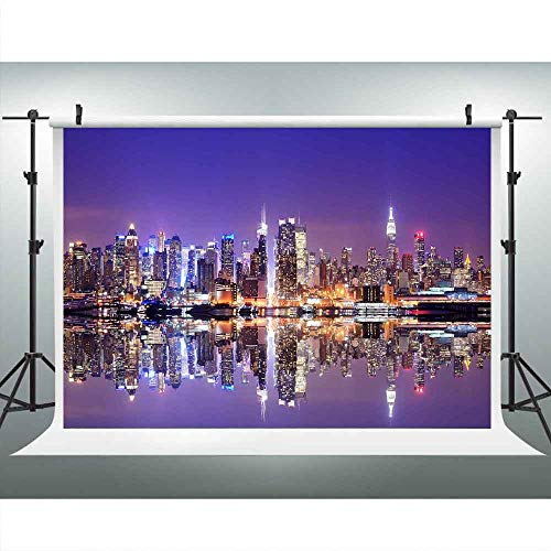 NYC Skyline Night Backdrop 9x6ft Metropolis Skyscraper Scene Backdrop for Photography River Reflection Neon Background Themed Party Backdrop Photo Booth Props Lucksty LUZZ187 Photocall