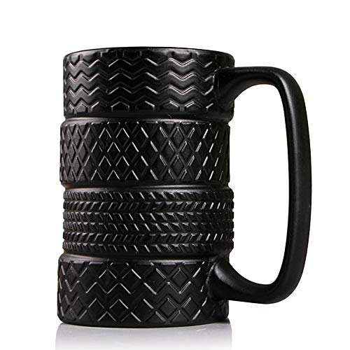 14 Ounces 3D Tire Coffee Mug, Smilatte Novelty Black Tyre Ceramic Tea Cup Best Gift for Men and Car Lover