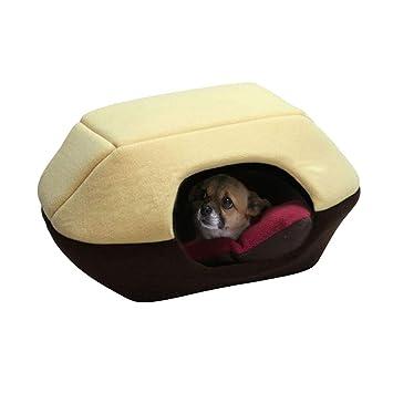 JEELINBORE Suave Cálido Casa de Perro Cama para Mascotas Bolsa de Dormir Gato Nido Cojín Cueva de Mascotas (L: 52 * 45 * 44CM, Café Amarilloa): Amazon.es: ...