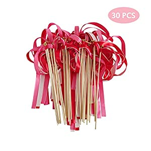 Hangnuo 30 Pack Wedding Wands Ribbon Streamers with Bell Fairy Stick Party Favor for Baby Shower Holiday Celebration, Red