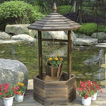 Fir Wood Garden Wishing Well Planter