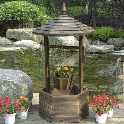 - Fir Wood Garden Wishing Well Planter