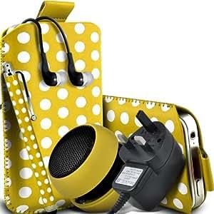 Samsung Galaxy Ace 3 S7270 protectora Polka PU Slip cuerda del tirón en la bolsa del lanzamiento rápido con Mini capacitivo Stylus Pen, 3.5mm en auriculares del oído, Mini recargable altavoz de la cápsula, Micro USB CE aprobado 3 Pin Cargador (amarillo y blanco)