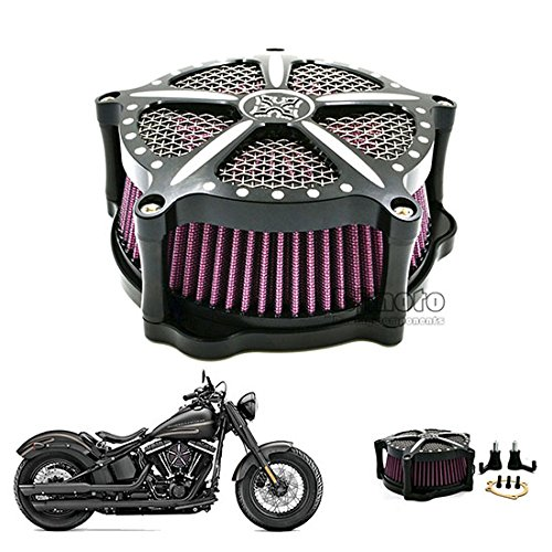 Evermotor Universal Rojo Filtro de aire Motocicleta Scooter ATV Ciclomotor Quad 42mm 43mm 44mm Acero de doble capa
