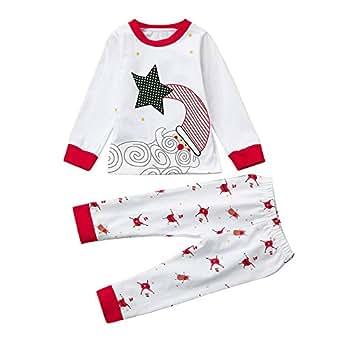 AIMEE7 Ropa niños navideña Recién Nacido Infantil Navidad Bebé Niño Chica Tops + Pantalones Ropa de Dormir Pijamas Ropa de Dormir Conjunto de Noche (Blanco, 0-1 años)
