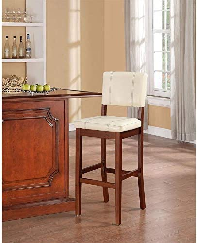 Linon FBA_ Milano Bar Stool, 18 W x 20 D x 45 H, Off-White