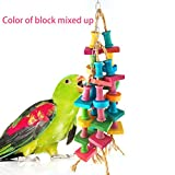 Knot Block Bird Toy for Parrot Macaw African Greys Cockatoo Cockatiel Eclectus Budgie Lovebirds Conures Parakeet Climbing and Cage Decor, 15.7 Inch Hanging Total Length