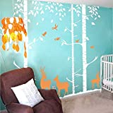 Birch Tree Wall Decal Forest with Birds and Deers Vinyl Sticker Removable(9 feet, Color1)