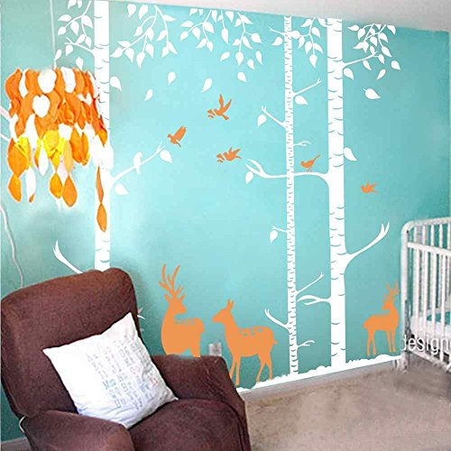 Birch Tree Wall Decal Forest with Birds and Deers Vinyl Sticker Removable(8 feet, Color1) by ppty