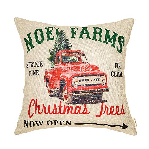Fahrendom Rustic Farmhouse Style Noel Farms Christmas Trees Red Vintage Truck Winter Holiday Sign Cotton Linen Home Decorative Throw Pillow Case Cushion Cover with Words for Sofa Couch 18 x - Christmas Farm