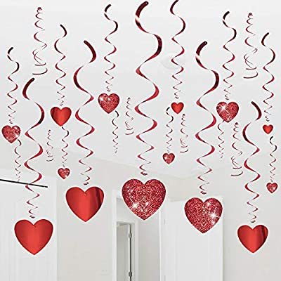 Valentine's Day Glitter Heart Swirl Hanging Decoration- Bridal Shower, Engagement, Wedding Party Decorations 30Ct