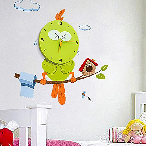Wall Clocks 3D Creative Decoration Art Clock DIY Wall Clock Peel and Stick Wall Clock for Kids Room Nursery Home Decor,Wonderful Valentine's Day Gift.(Bird)