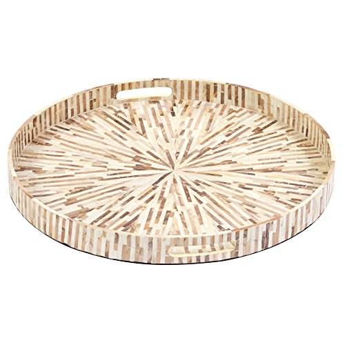 Howard Elliott 25151 Round Wood Tray with Starburst Pattern in Mother of Pearl