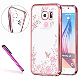 Samsung Galaxy S6 Case,LEECO Galaxy S6 Plating Case Soft Shell TPU Flower fit Protective Case Cover for Samsung Galaxy S6 Rose Gold and Pink