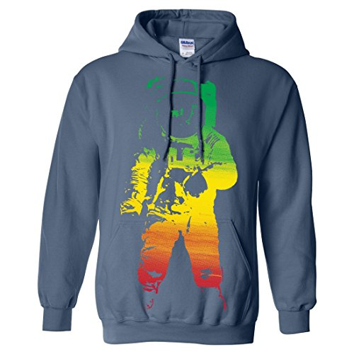 Space Astronaut Man on the Moon Rasta Sweatshirt Hoodie - Indigo Blue 3X-Large