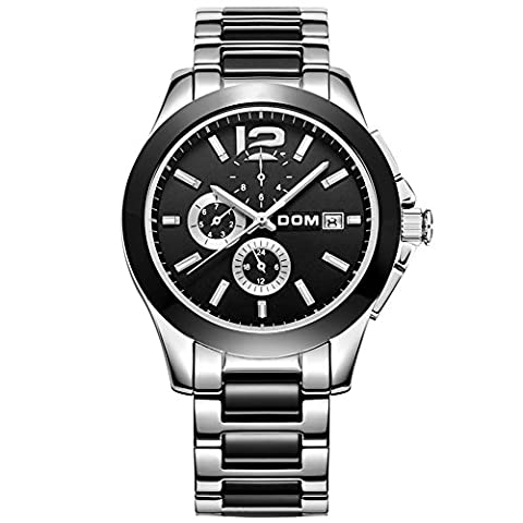 Sheli Gunmetal Black Ceramic With Stainless Steel 24H GMT Month Day Date Analog Mechanical Watch for Men - New Pearl Ceramica