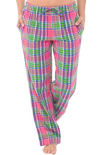 Alexander Del Rossa Womens Flannel Pajama Pants, Long Cotton Pj Bottoms, Large Pink and Green Spring Plaid (A0702V64LG) (Pink Green And Plaid)