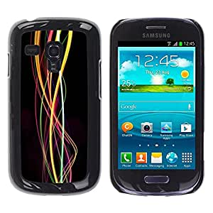 FECELL CITY // Duro Aluminio Pegatina PC Caso decorativo Funda Carcasa de Protección para Samsung Galaxy S3 MINI NOT REGULAR! I8190 I8190N // Swirl Lights Bright Colors Colours