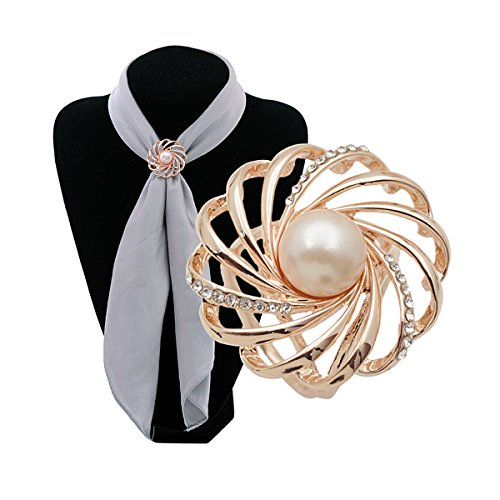 Woman's Enchanting Scarf Clip Silk Scarf Buckle Clip with Pearl,Free Gift Bag - Buckle Silk