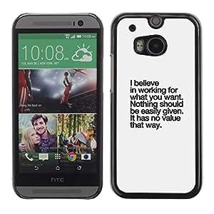FlareStar Colour Printing Believe Value Inspirational Text Inspiring cáscara Funda Case Caso de plástico para HTC One M8