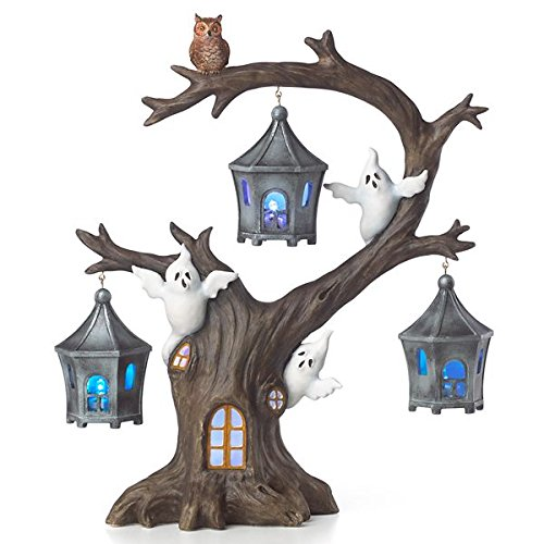 Lenox Halloween Tree Ornaments (Lenox Halloween A Ghostly Ghoulish Halloween Lighted Tree with Ghosts and Owl 12