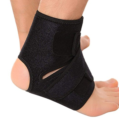 Ankle Guard Brace Adjustable Stabilizer Sleeve with Support for Peroneal Tendonitis Running, Soccer, Volleyball, Gymnastics, Pain Relief, Sprains, and Recovery for Men and Women, 1 Pack