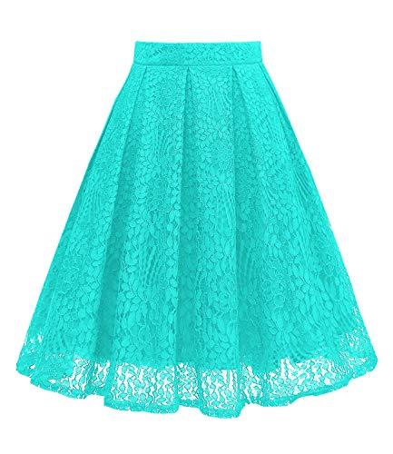 Length Mint - Girstunm Women High Waist Pleated A-Line Knee Length Lace Pockets Skirt Mint S