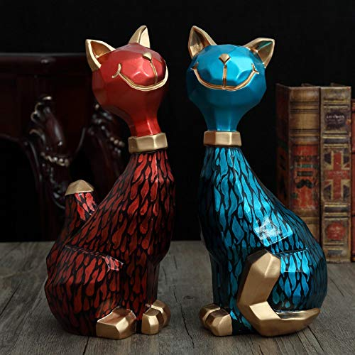 Statues Figurines Sculptures,A Pair of Creative Cute Red and Blue Cat Ornaments,Novelty Modern Abstract Statue, Living Room Bedroom Porch Model Room Hotel Study Home Decoration Ornaments, Crafts Coll