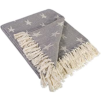 """DII Rustic Farmhouse Cotton Star Blanket Throw with Fringe For Chair, Couch, Picnic, Camping, Beach, & Everyday Use , 50 x 60"""" - Star Gray"""
