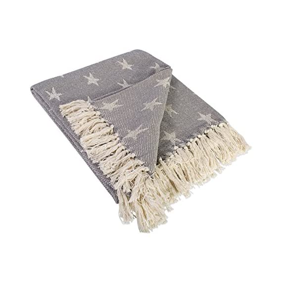 DII Rustic Farmhouse Cotton Star Blanket Throw with Fringe for Chair, Couch, Picnic, Camping, Beach, Everyday Use -  - blankets-throws, bedroom-sheets-comforters, bedroom - 51abz5S%2B%2B4L. SS570  -