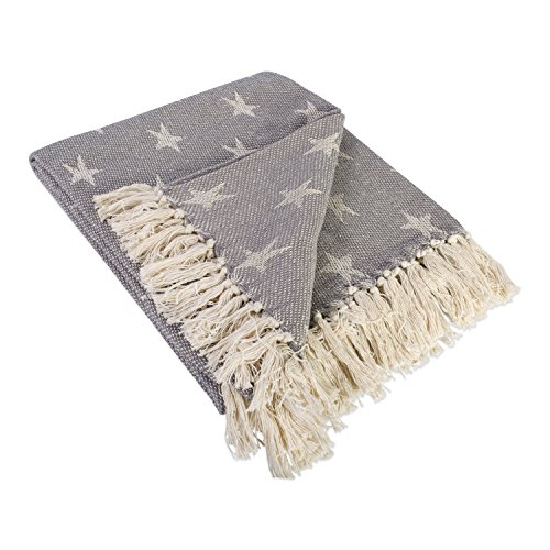 51abz5S%2B%2B4L - DII Rustic Farmhouse Cotton Star Blanket Throw with Fringe For Chair, Couch, Picnic, Camping, Beach, & Everyday Use